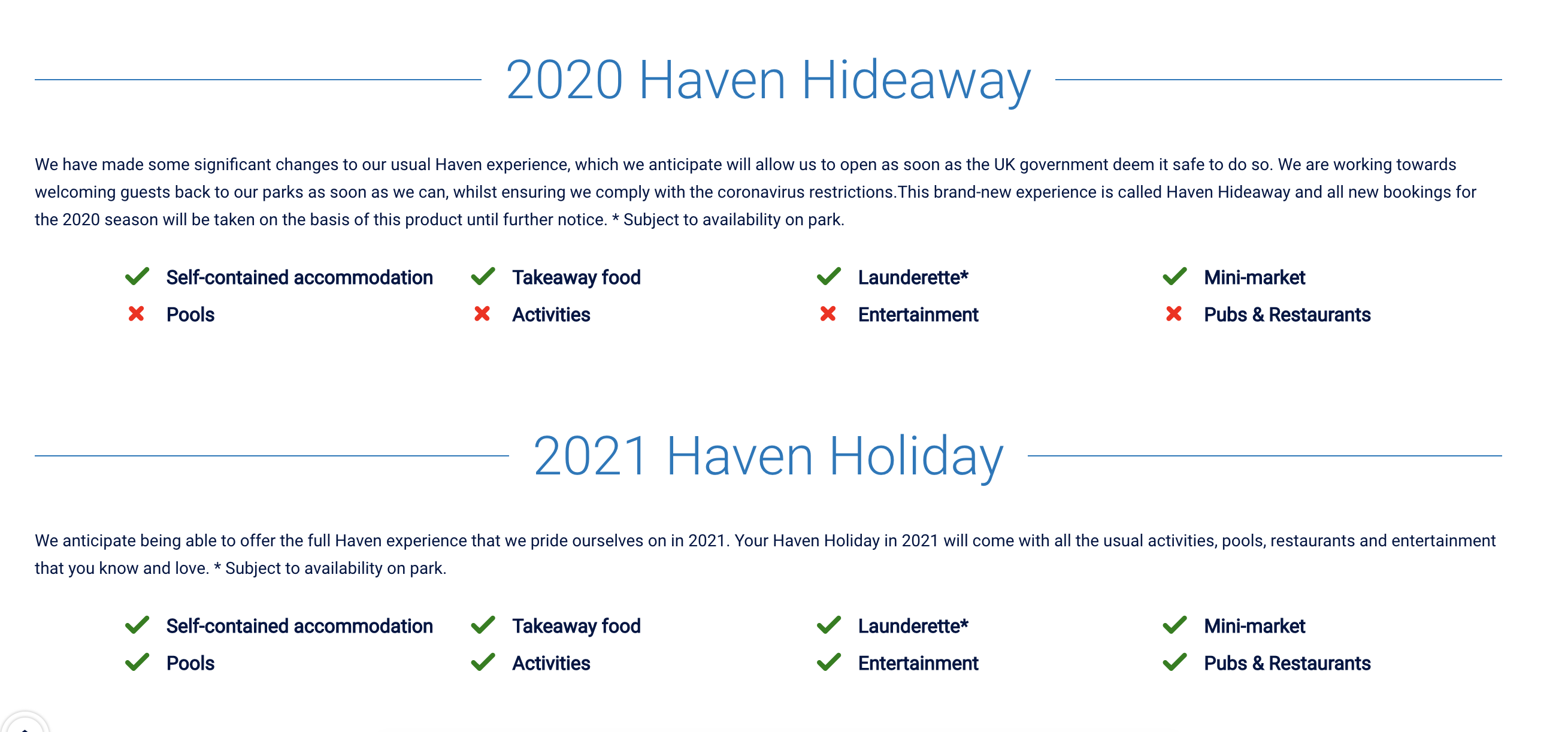 Haven Holiday and Hideaway