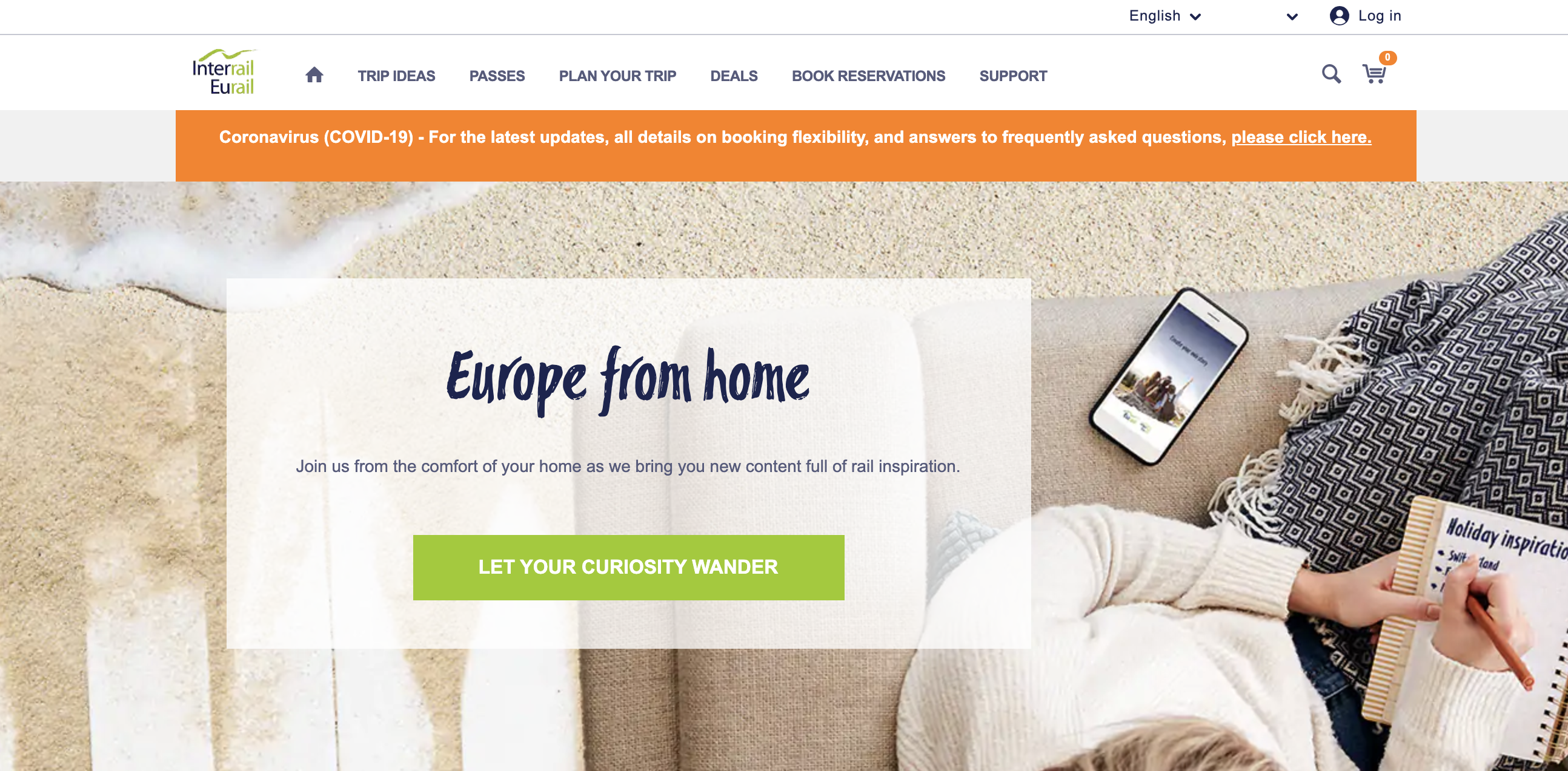 Interrail website